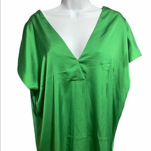 Green Satin viscose Stretchy Additionelle Blouse